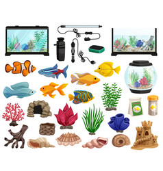 Aquaristics and aquarium fishes set vector