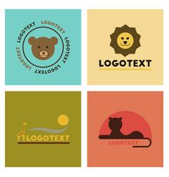 Assembly flat icons nature logo bear lion giraffe vector
