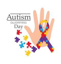 autism awareness day card with hand puzzle shape vector image
