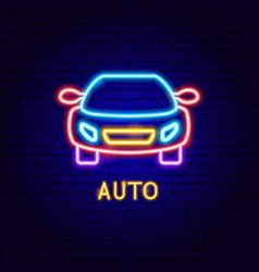 Auto neon label vector