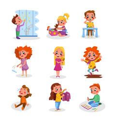 Bad and good kids behavior and habits set cute vector
