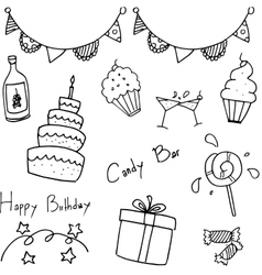 Birthday party doodle for kids vector image