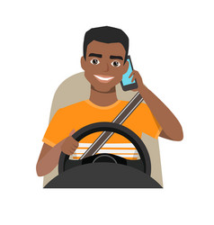 Black african american man driving a car talking vector