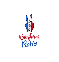 Bonjour Paris card Hello Paris phrase in french vector image