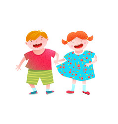Boy and girl friends holding hands vector