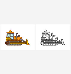 bulldozer coloring page for kids side vector image
