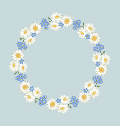 Chamomile and forget-me-not flowers pattern on vector