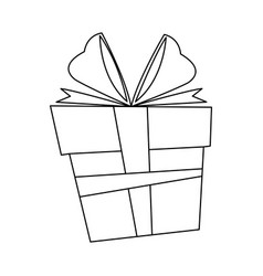 Christmas box gift ornament decoration outline vector