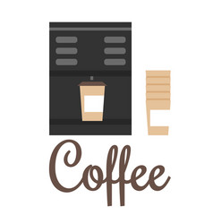 coffee machine and cups color vector image