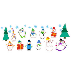 collections icons different snowmen snowman vector image