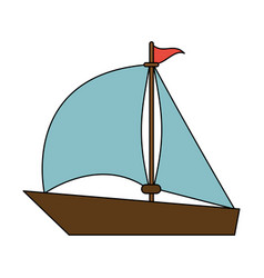 color image wooden boat with sail vector image