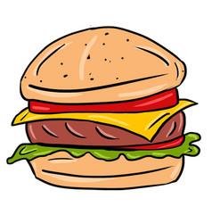 Colored hand drawn burger vector