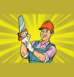 Construction worker with saw vector