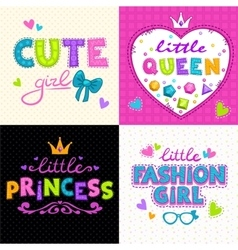 Cool girlie t shirt print set vector