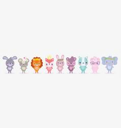 cute animals little group rabbit lion pig vector image