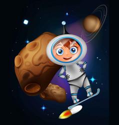 Cute cartoon astronaut surfing on jet board vector
