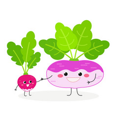 cute cartoon radish and turnip vector image