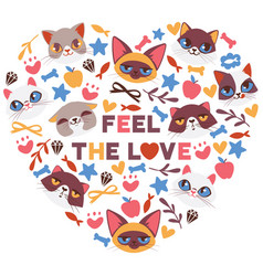 Cute cats in heart shape vector