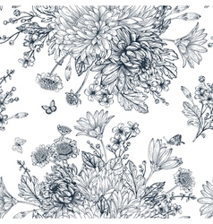 Elegant seamless pattern with bouquets of flowers vector