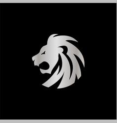 elegant silver lion crest design concept vector image