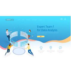 Expert team for data analysis isometric business vector