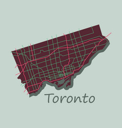 flat color map of toronto canada city plan of vector image