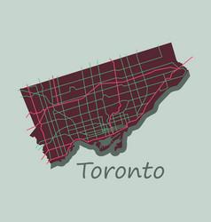 Flat color map of toronto canada city plan vector