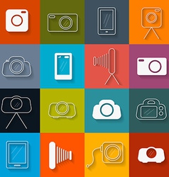 Flat Design Photography Icons Set vector image vector image