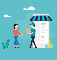 flat design postman send packages to female vector image