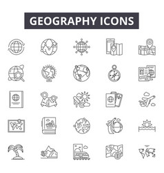 geography line icons for web and mobile design vector image