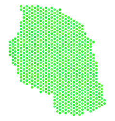 Green hexagon tanzania map vector