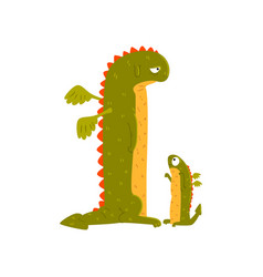 green mature dragon and small baby dragon mother vector image