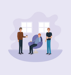 group of men drinking coffee on the livingroom vector image