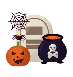 halloween pumpkin with tomb and set icons vector image