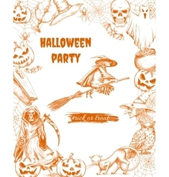Halloween sketch characters and elements vector