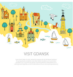 Hand drawn abstract banner poster gdansk vector