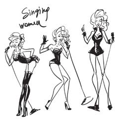 Hand drawn singing women sketch vector