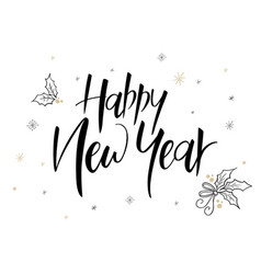 hand lettering new 2018 year label - happy vector image