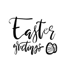 happy easter greetings card with calligraphy text vector image