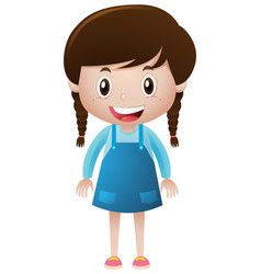 Happy girl in blue overall vector