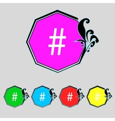 hash tag icon Set colourful buttons sign vector image