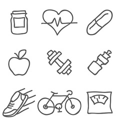 Health and fitness icons elements for print mobile vector