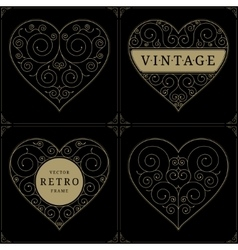 Heart vintage luxury logo template set vector image