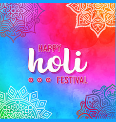 Holi holiday design with colorful watercolor vector