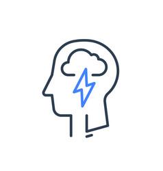 Human head profile and cloud lightning psychology vector