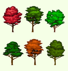 Isolated realistic tree collection set vector