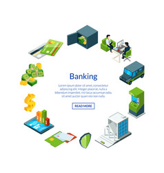 Isometric money flow in bank icons vector