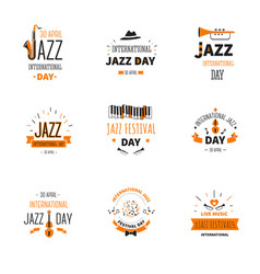 jazz music day international holiday trumpet and vector image
