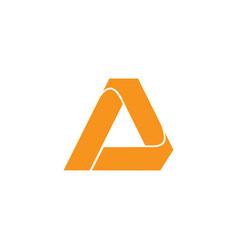 letter a simple triangle arrow 3d flat logo vector image