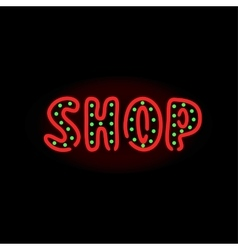 Light neon shop label vector image vector image
